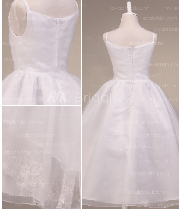 Princess Style Tiered Organza Flower Girl Dress