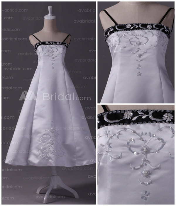 Embroidered Satin Flower Girl Dress