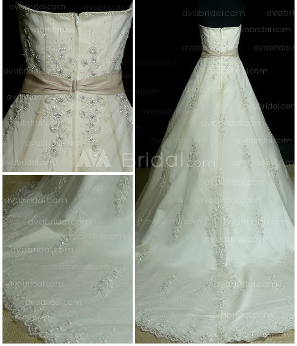 A Line Sweetheart Chapel Train Satin Wedding Dress
