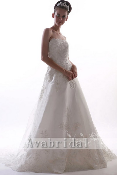 Timeless A-line Satin Wedding Dress W70-Front