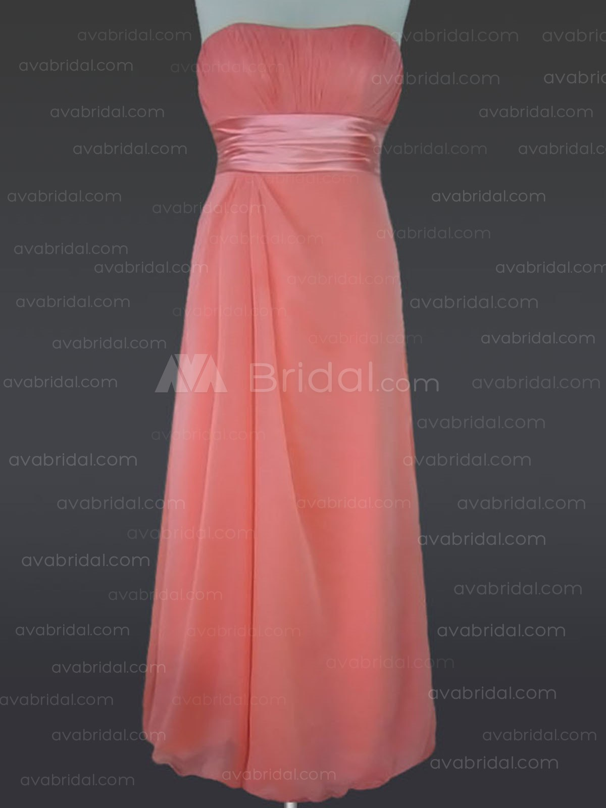 Slim Line Strapless Floor Length Chiffon Bridesmaid Dress B383 - Front