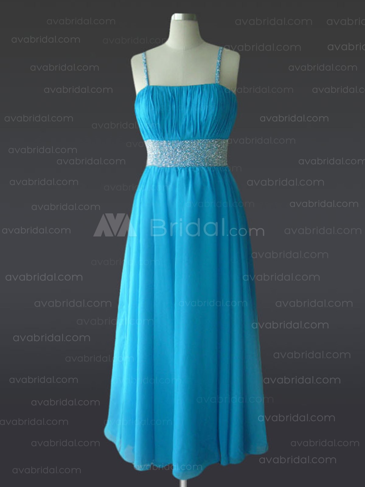A-line Tea Length Chiffon Bridesmaid Dress B485 - Front