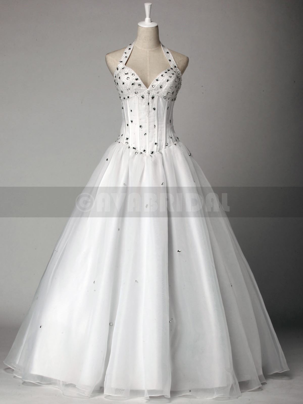 Halter Neck Organza Wedding Dress W817-Front