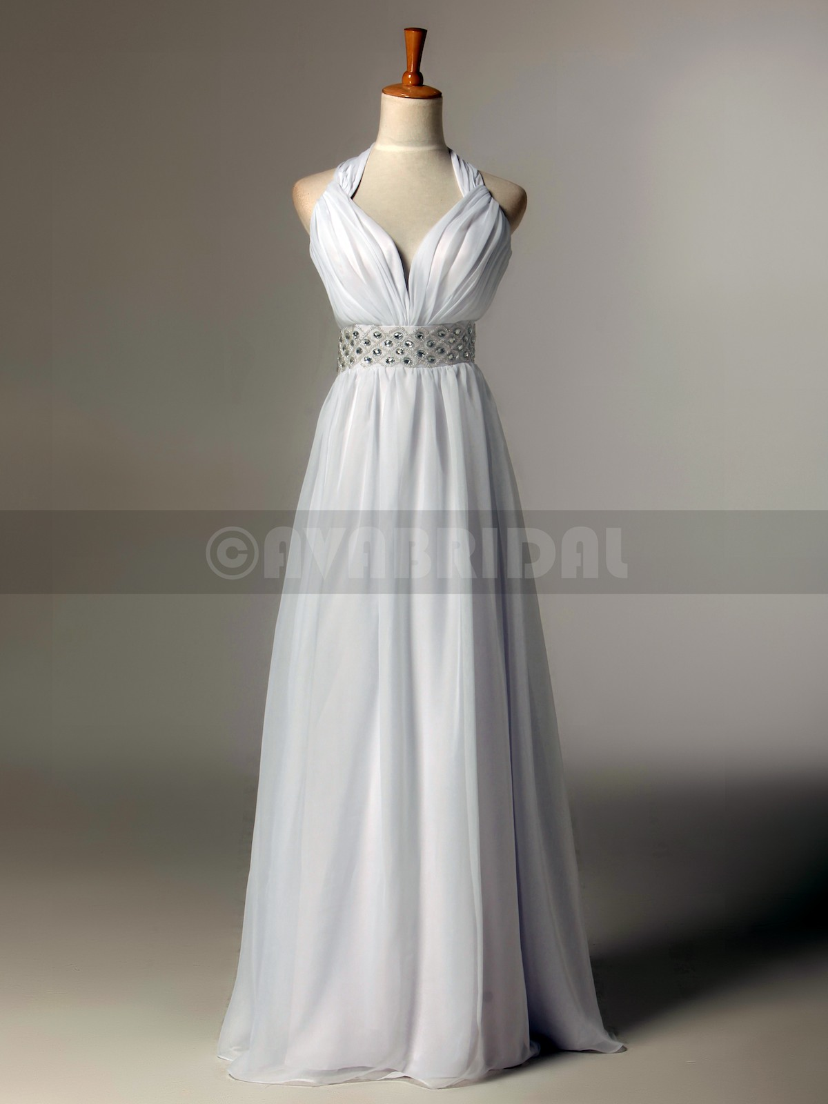 Column Halter Neck Natural Waist Chiffon Bridesmaids Dress (B428)-Front