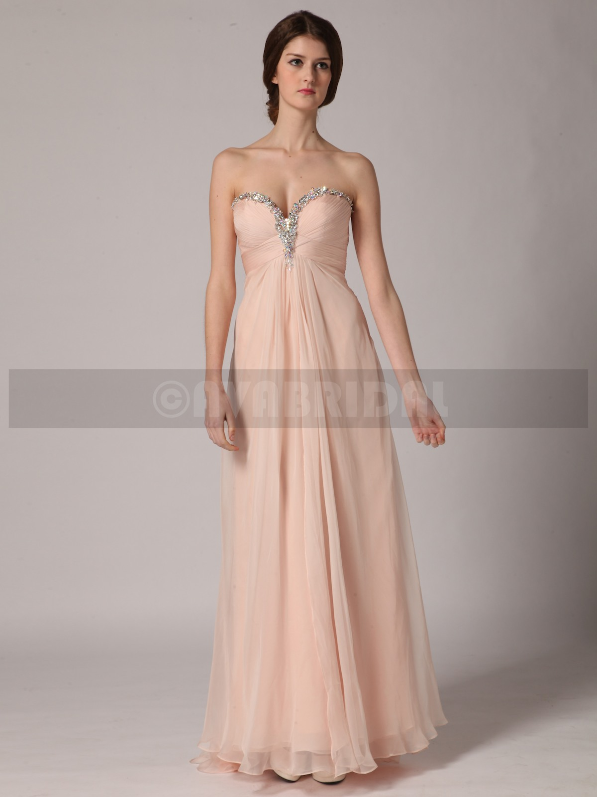 A-line Sweetheart Empire Waist Chiffon Bridesmaids Dress B429-Front