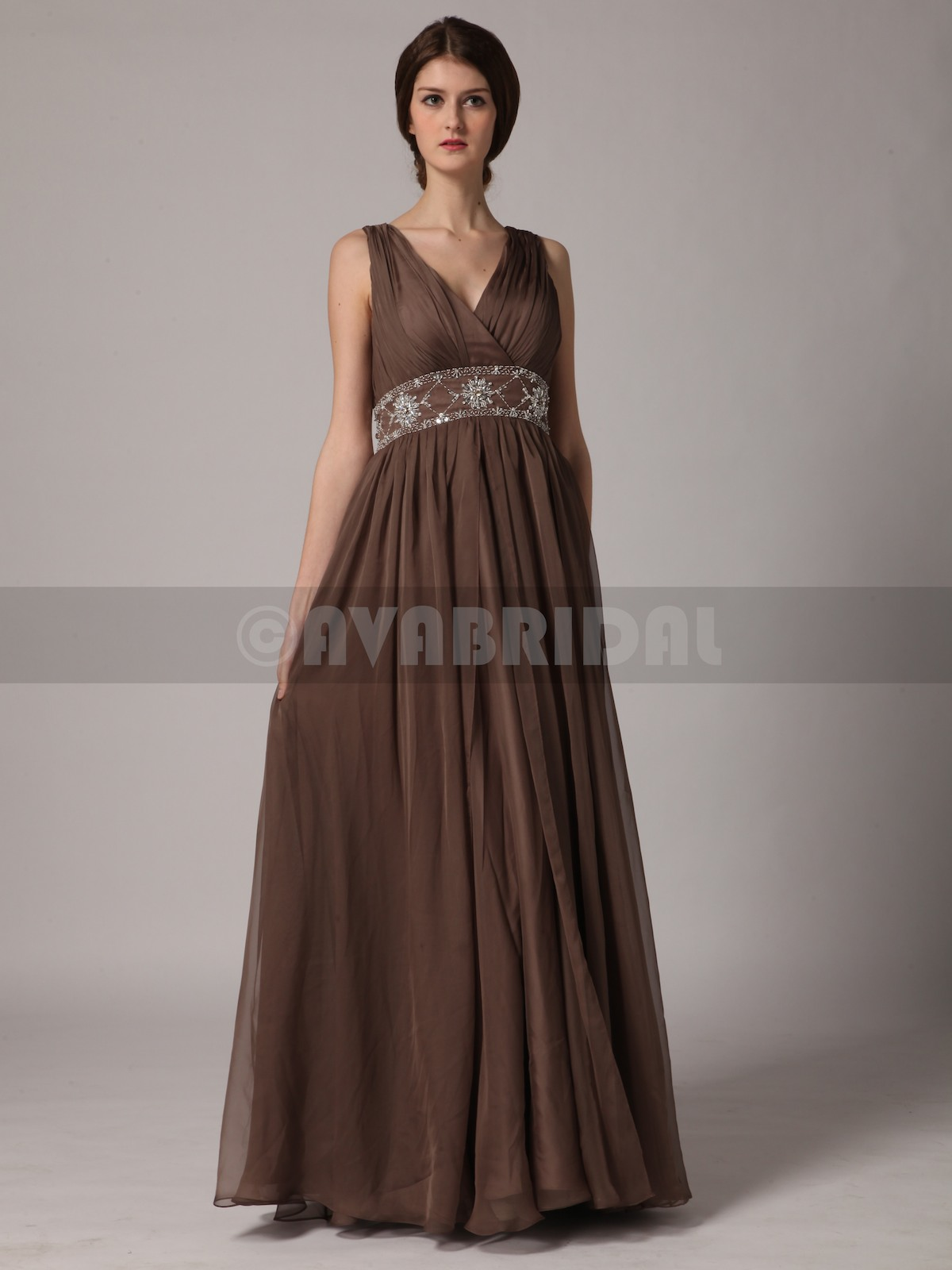 Column V Nekcline Chiffon Bridesmaid Dress B431-Front