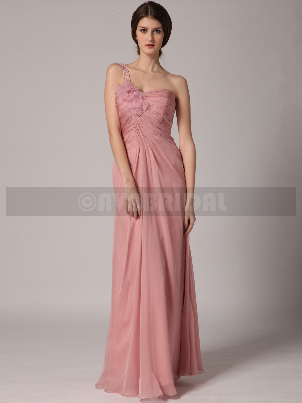 Column Asymmetric Natural Waist Satin Chiffon Bridesmaid Dress (B434)
