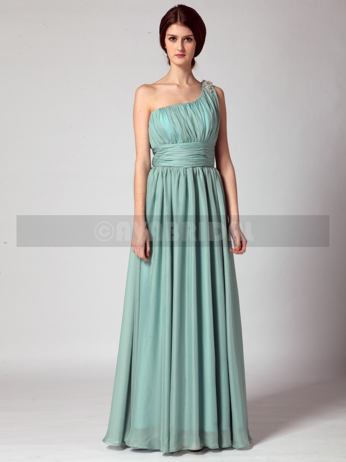 Grecian Asymmetric Chiffon Bridesmaid Dress B435-Front