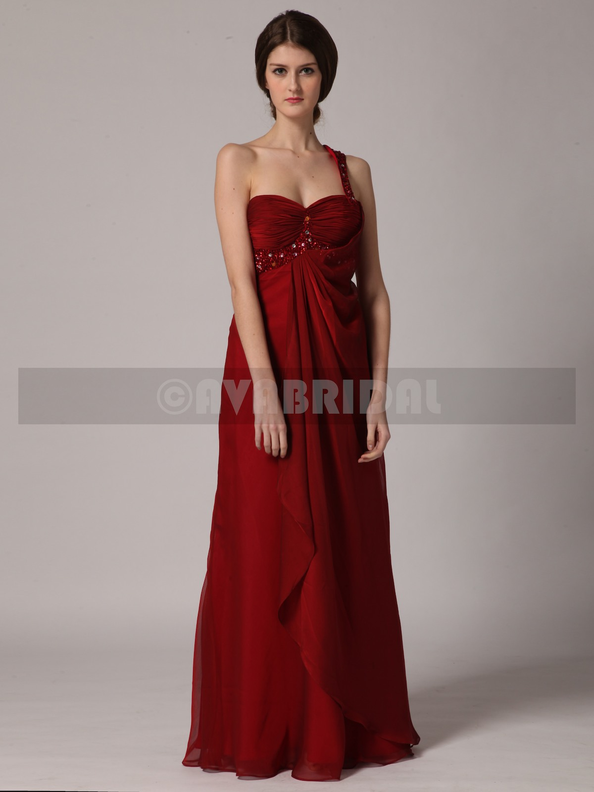 Chic Asymmetric Empire Waist Satin Chiffon Bridesmaid Dress B436-front