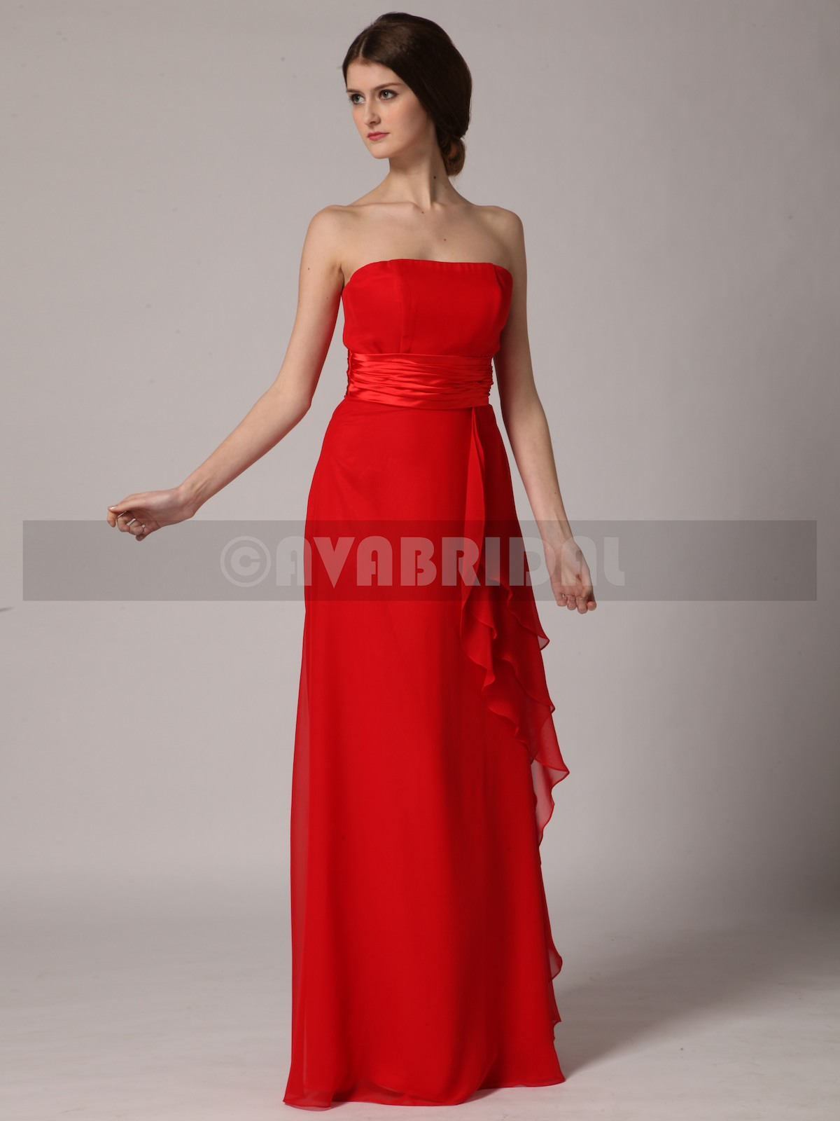 Simple Straight Chiffon Bridesmaid Dress B438-Front