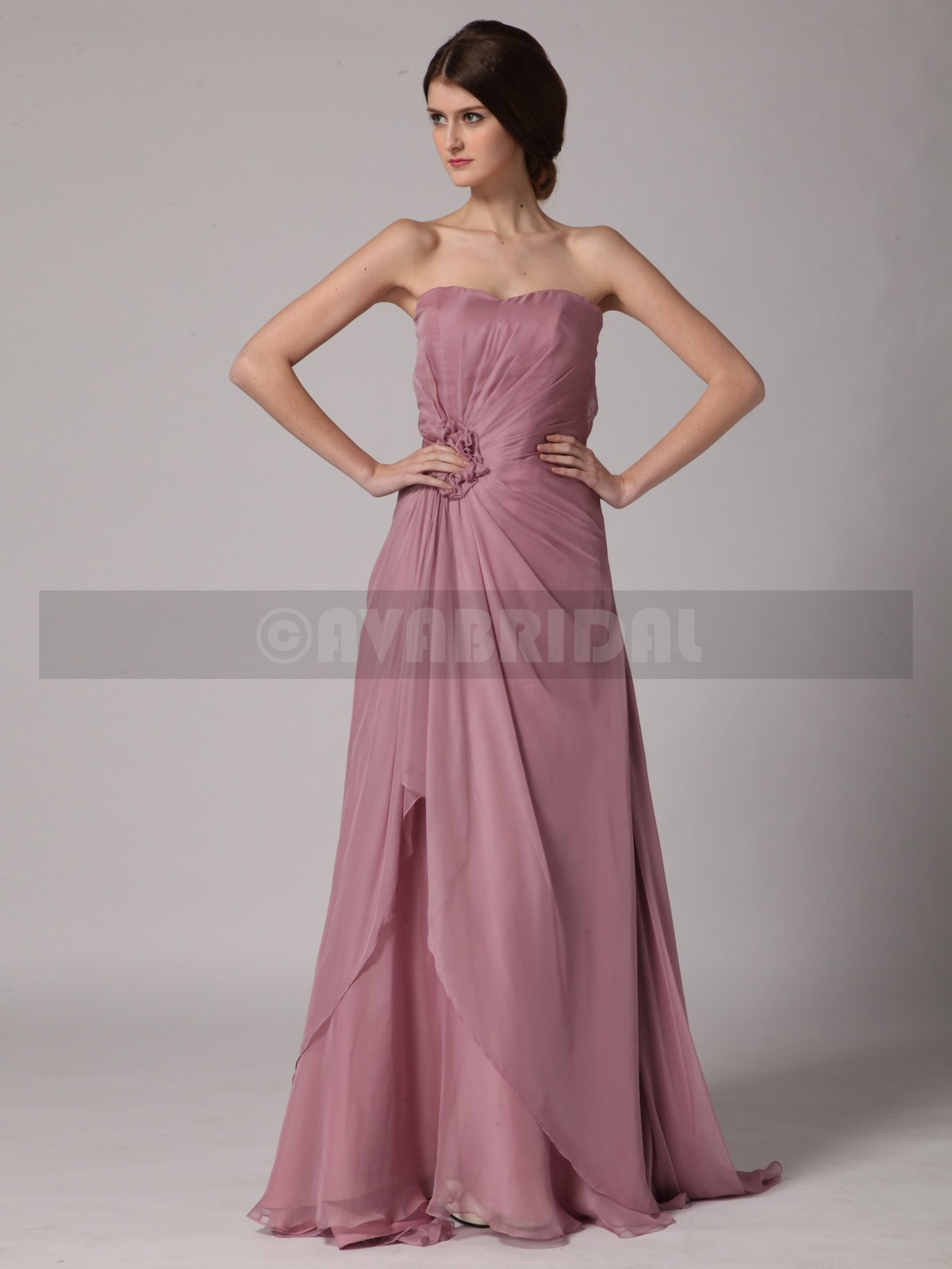 Slim Line Sweetheart Chiffon Bridesmaid Dress B439-Front
