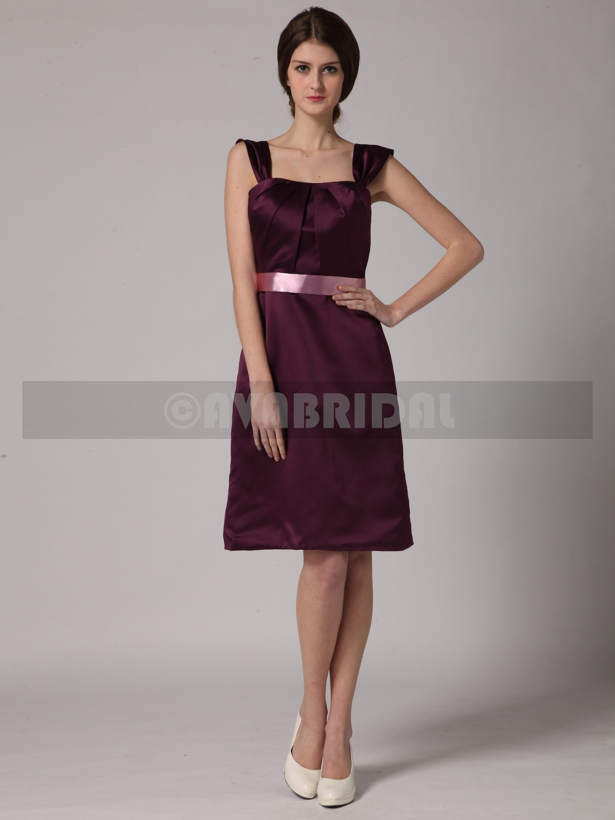 Classic Satin Bridesmaid Dress B443-Front