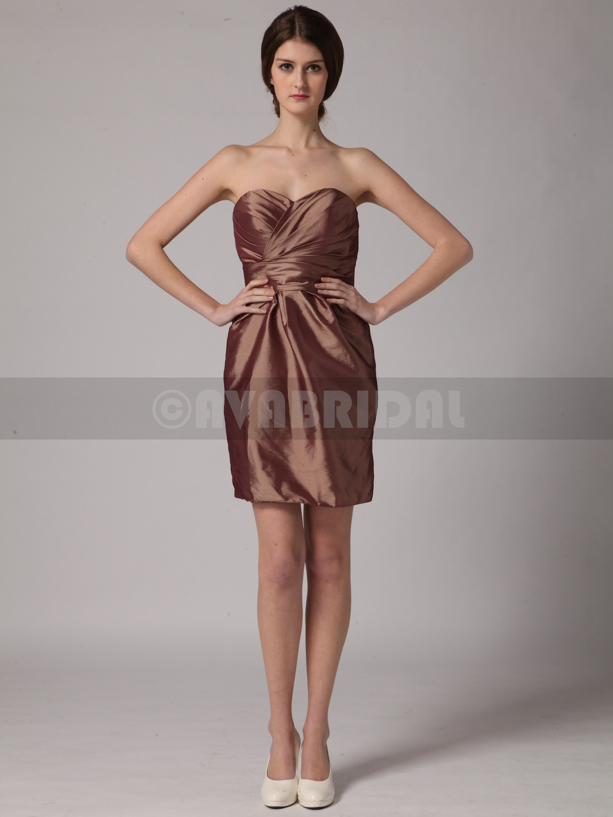 Simple Sweetheart Mini Taffeta Bridesmaid Dress B444-Front