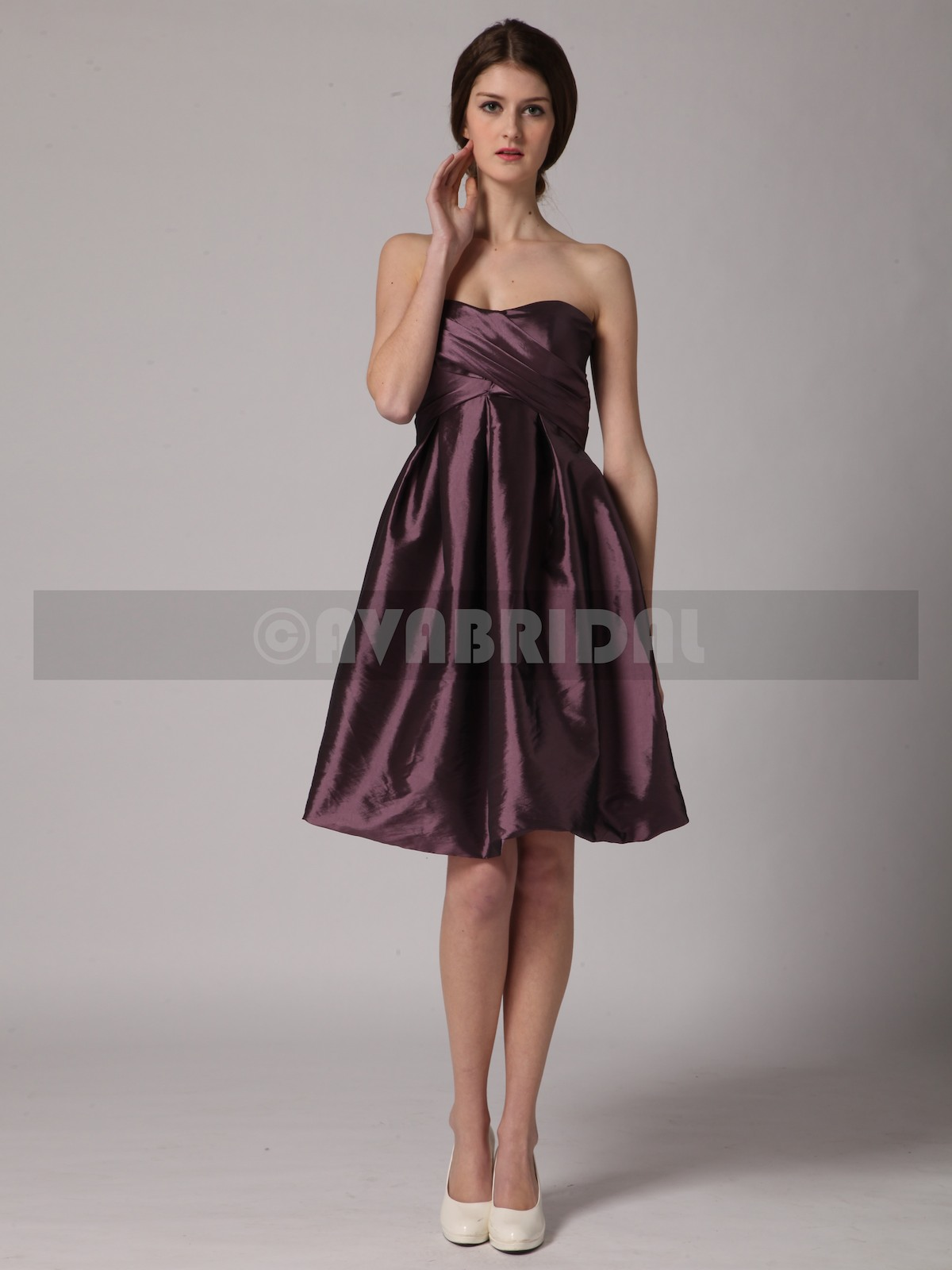 A-line Sweetheart Empire Waist Taffeta Bridesmaid Dress B445-Front