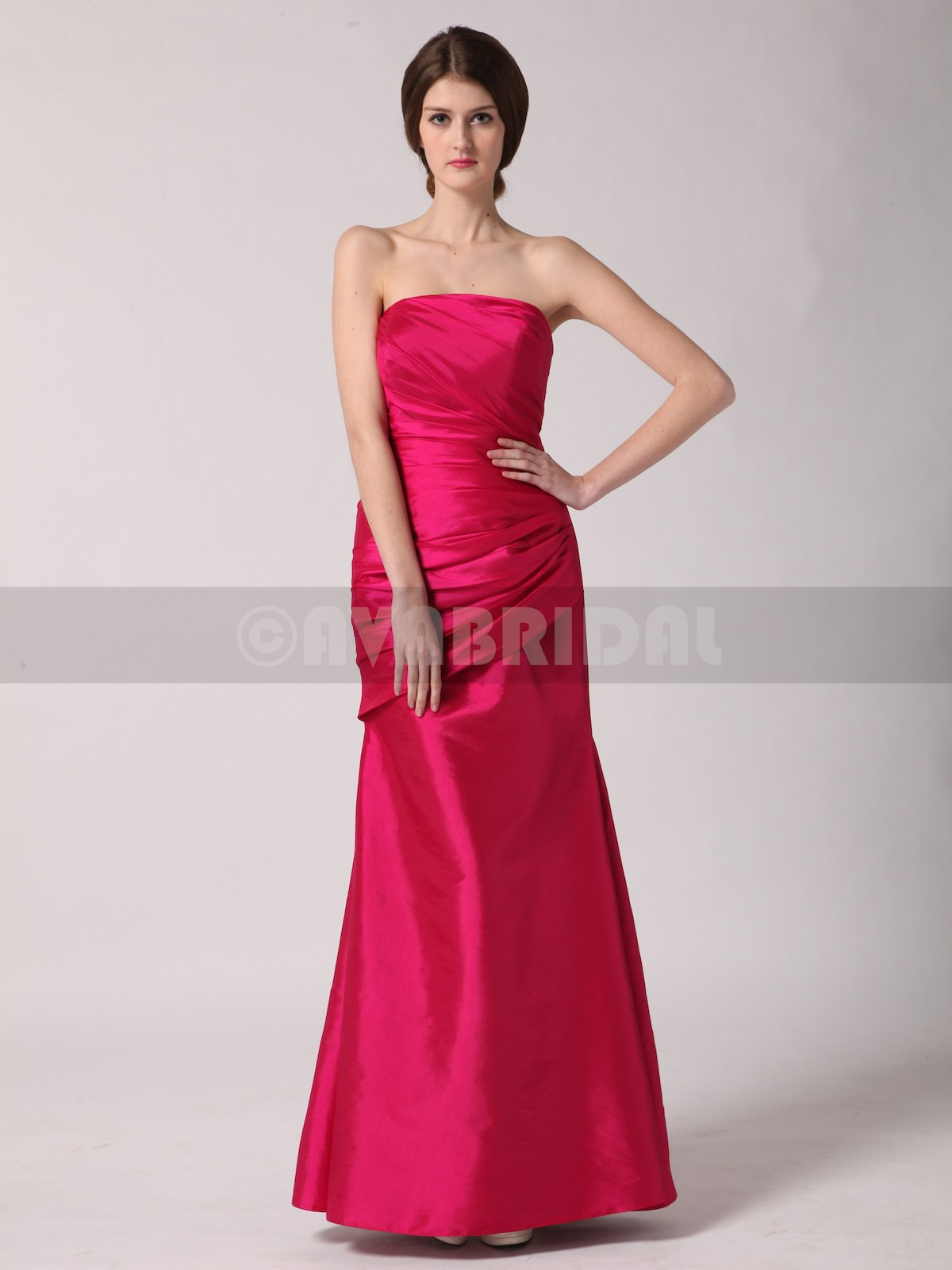 Modern Column Taffeta Bridesmaid Dress B446-Front