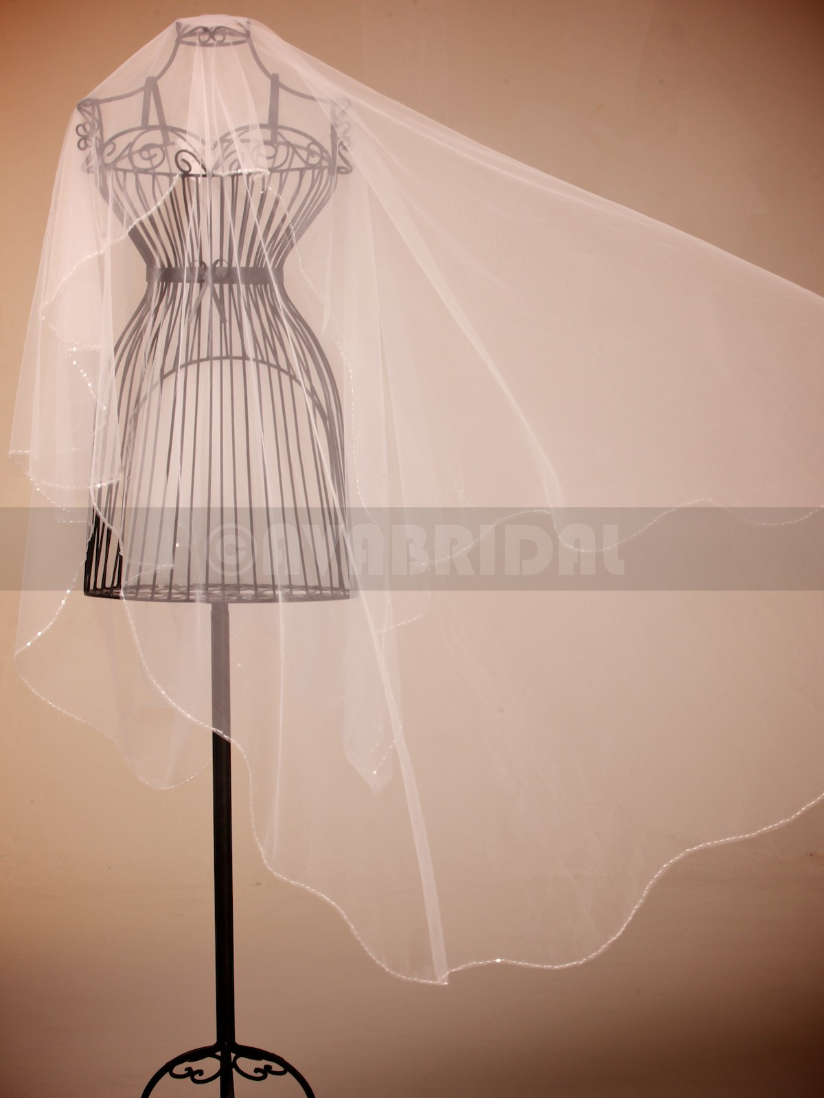 One Tier Chapel Length Veil