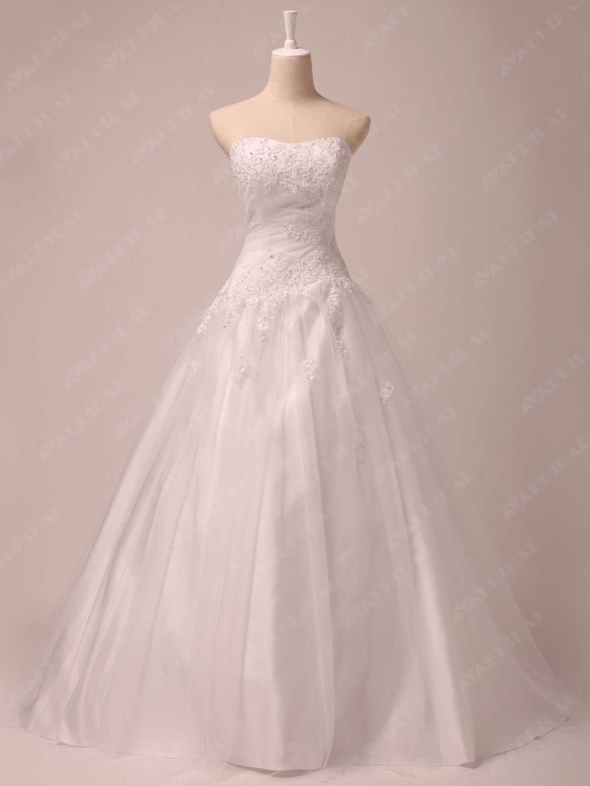 Embroidered Princess Bridal Gown W800-Front