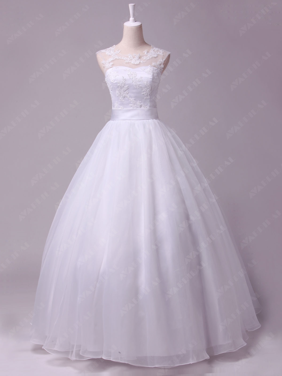 Bateau Neckline Vintage Style Ball Gown W823-front