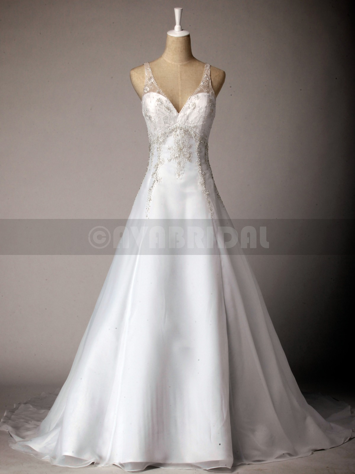 Gorgeous Heavy Beaded Chiffon Bridal Gown W798-Front