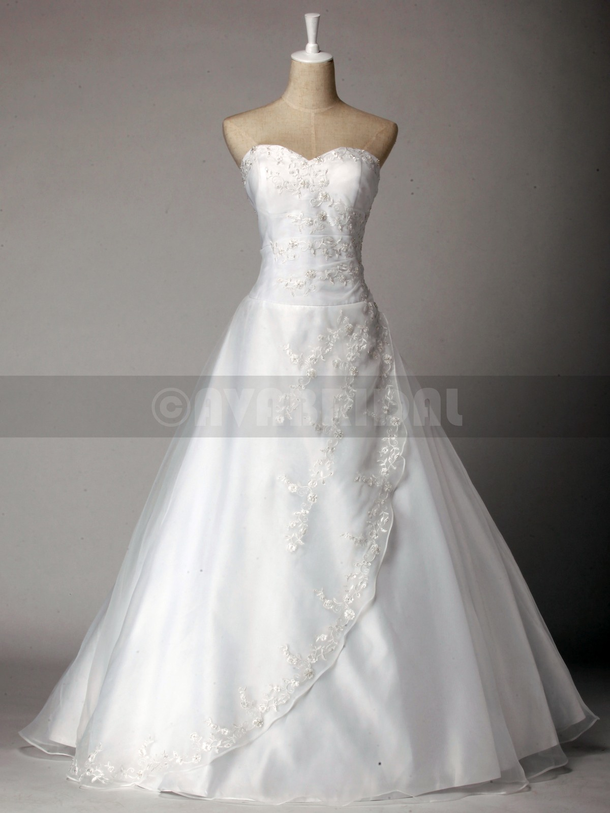 Princess Embroidery Lace Wedding Dress W818-Front