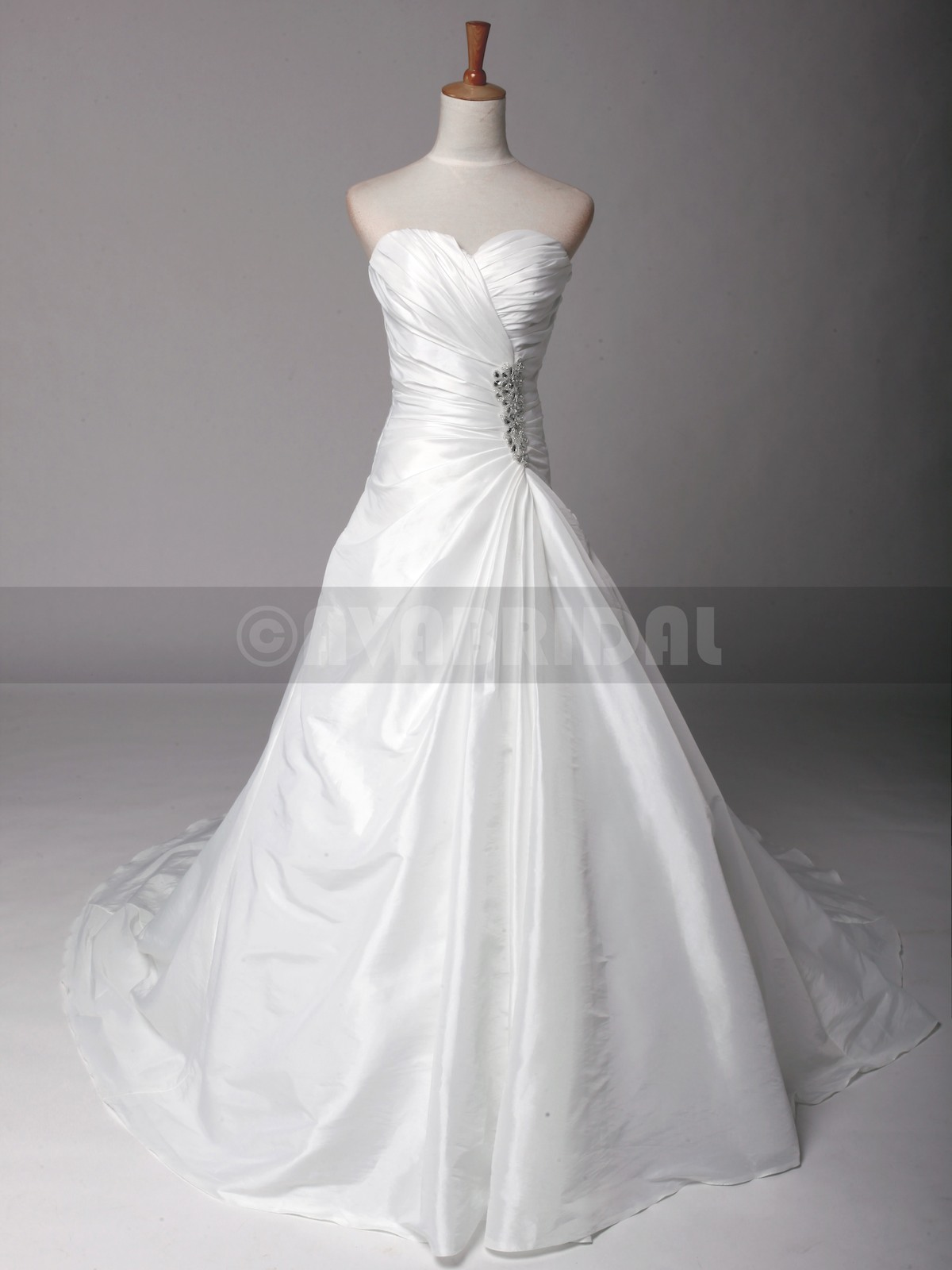 A-line Asymmetrical Ruched Taffea Bridal Gown W821-front