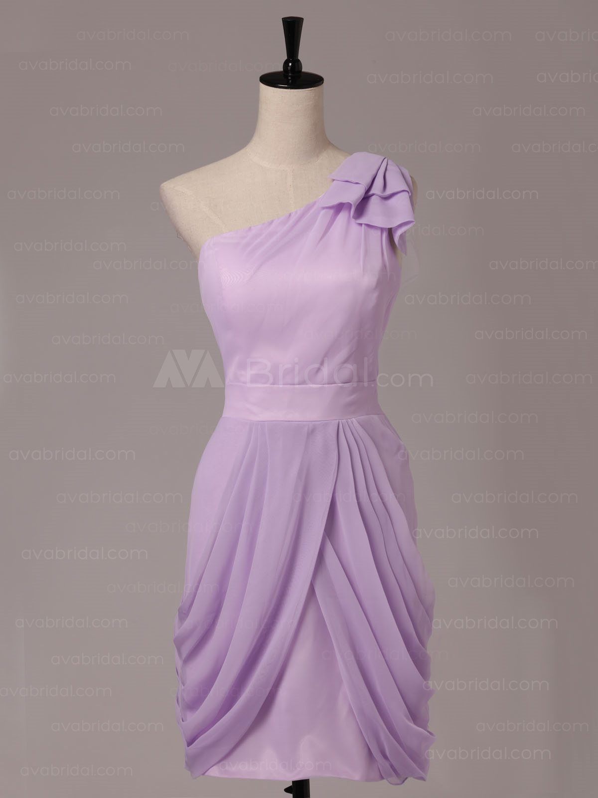Asymmetrical Neckline Chic Chiffon Bridesmaid Dress B481-front