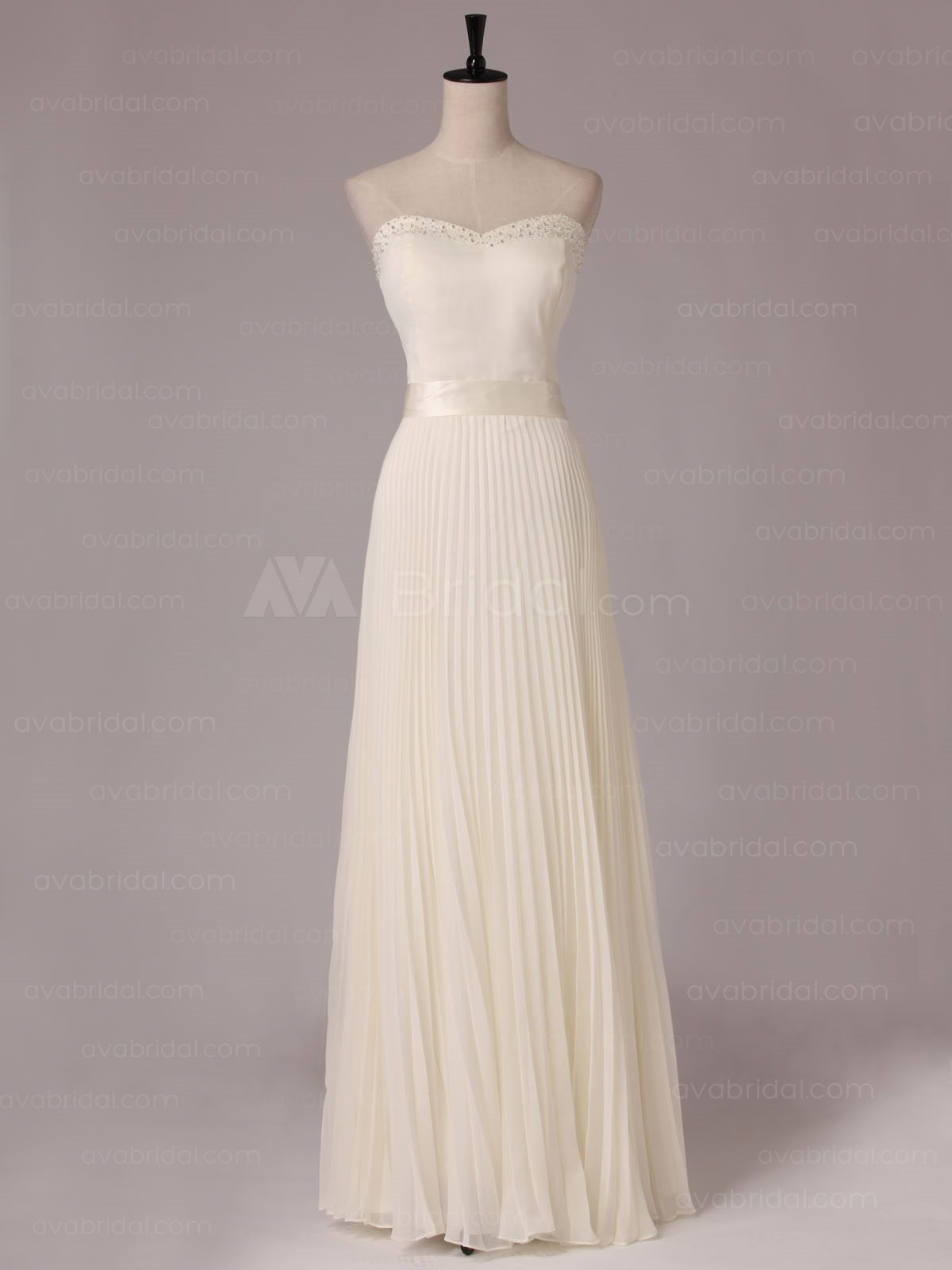 Slim Line Pleated Chiffon Bridesmaid Dress B482-front