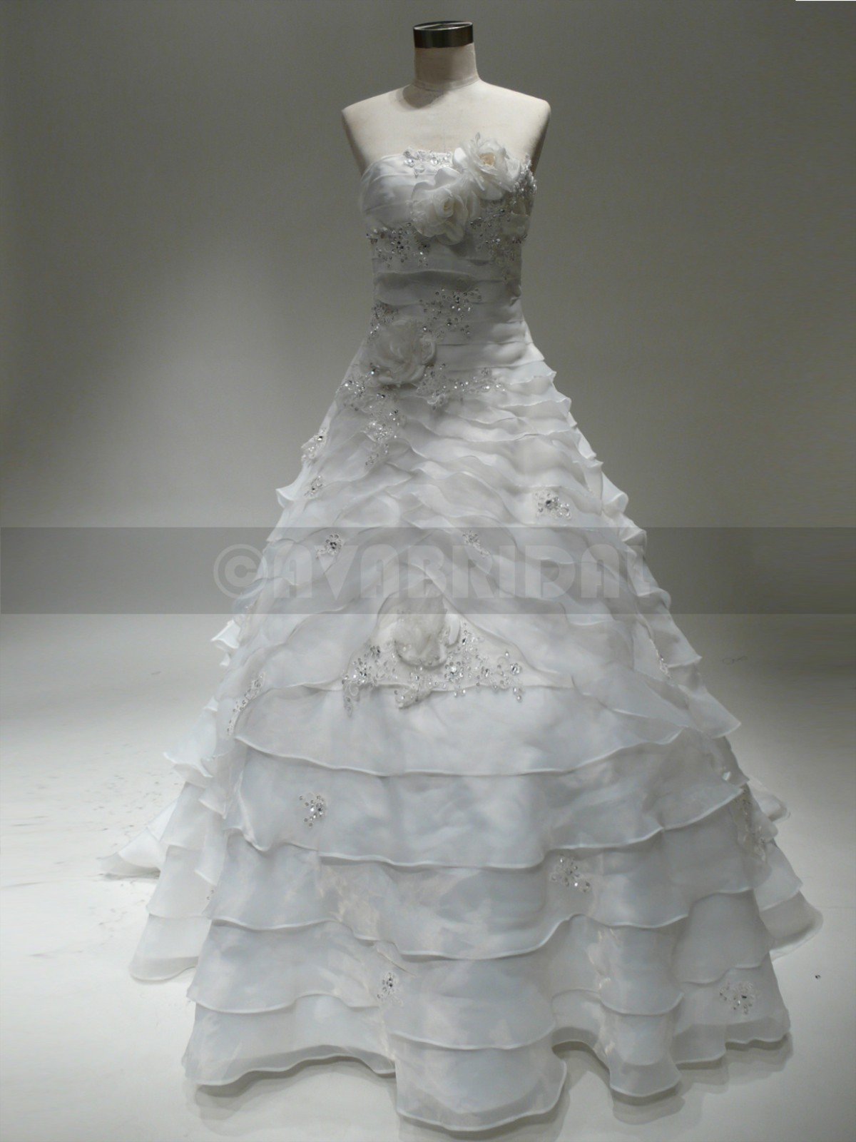 Strapless Tiered Organza Bridal Gown W833-front