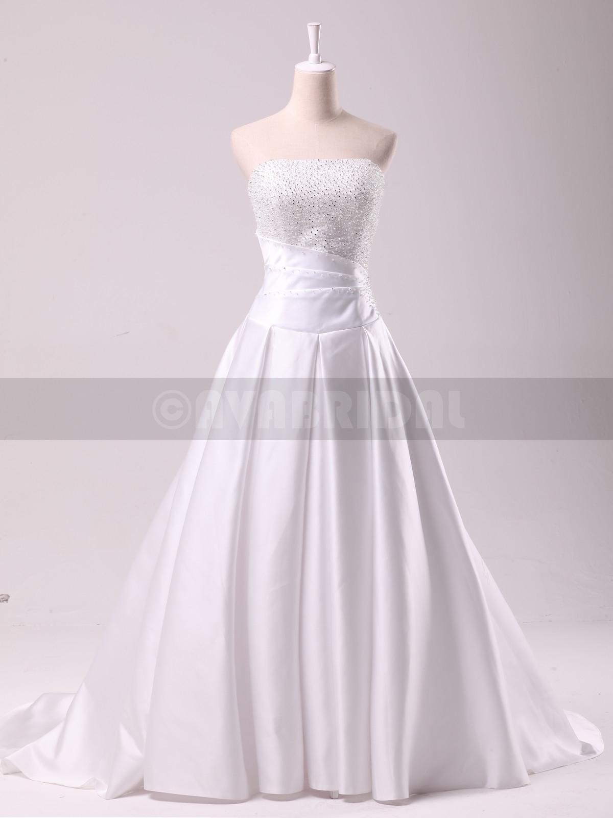 Stunning Beaded Sain Wedding Dress-W843-Front