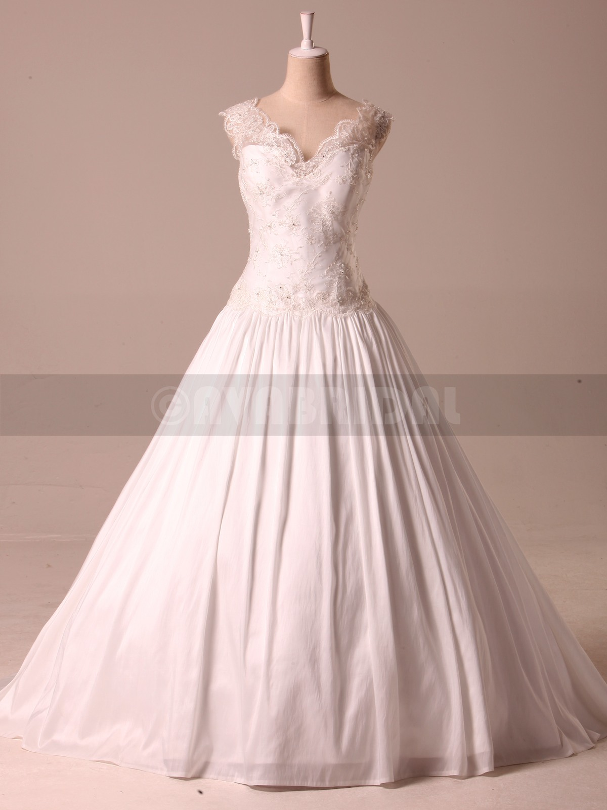 Vintage Inspired V Neck Taffeta Ball Gown W850-Front
