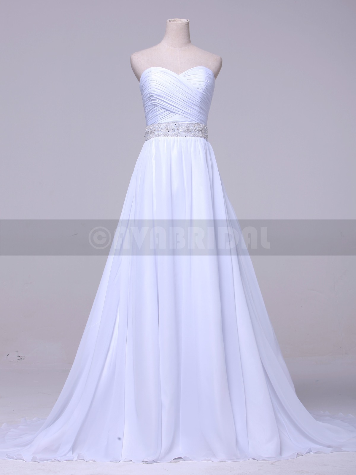A-line Chiffon Ruched Wedding Dress W853 -front