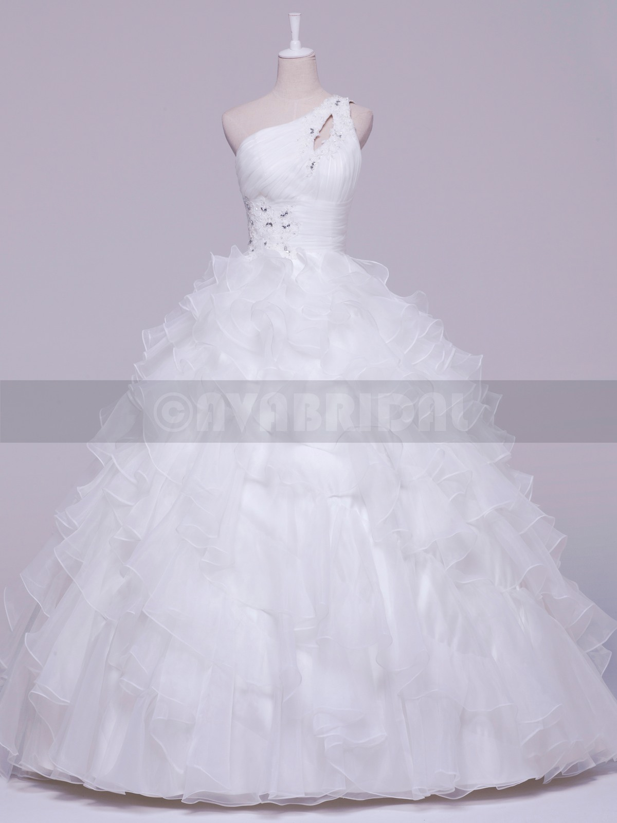 One Shoulder Strap Tiered Organza Ball Gown W857-front
