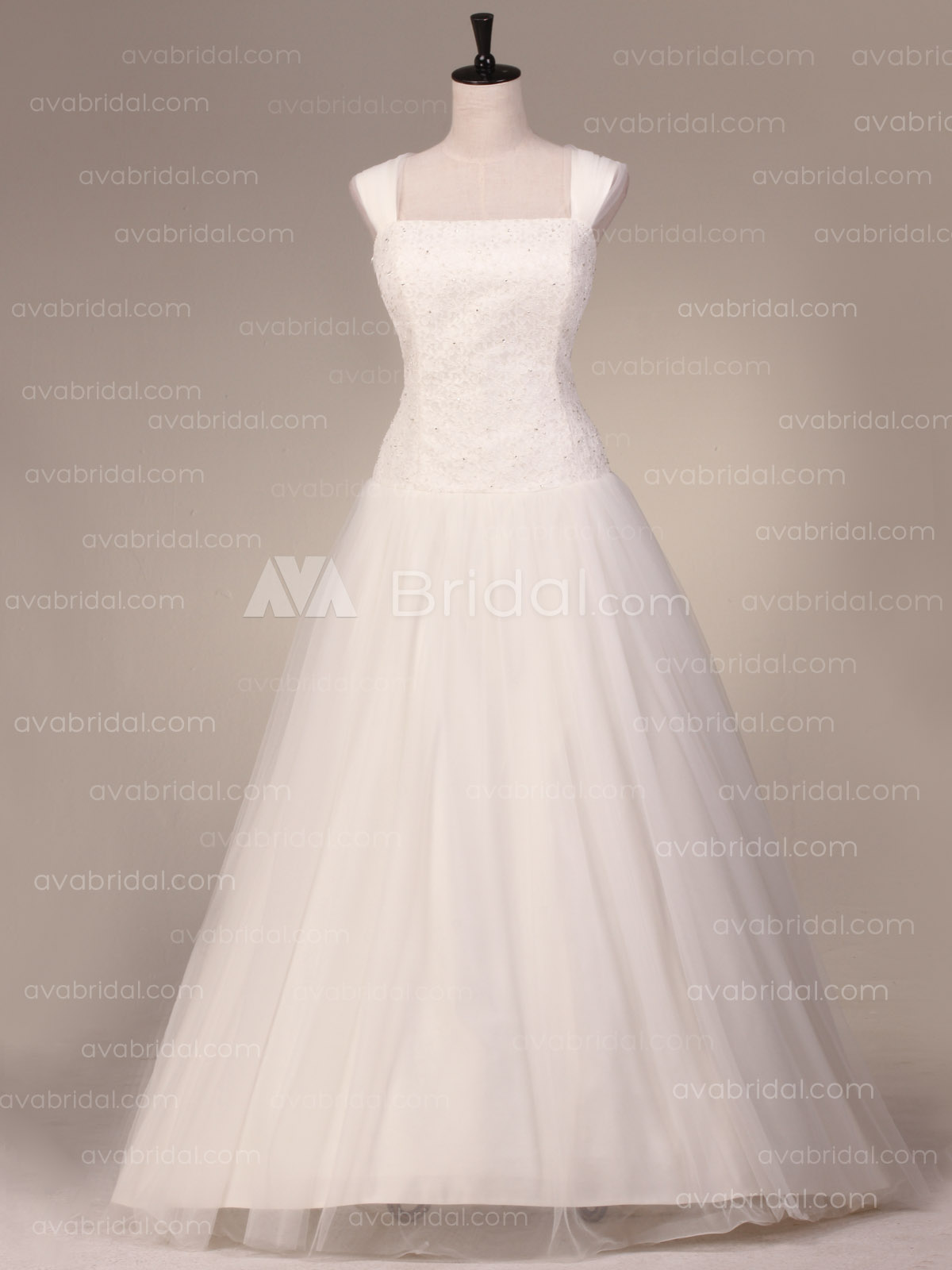 Simple Tulle Wedding dress W873-front