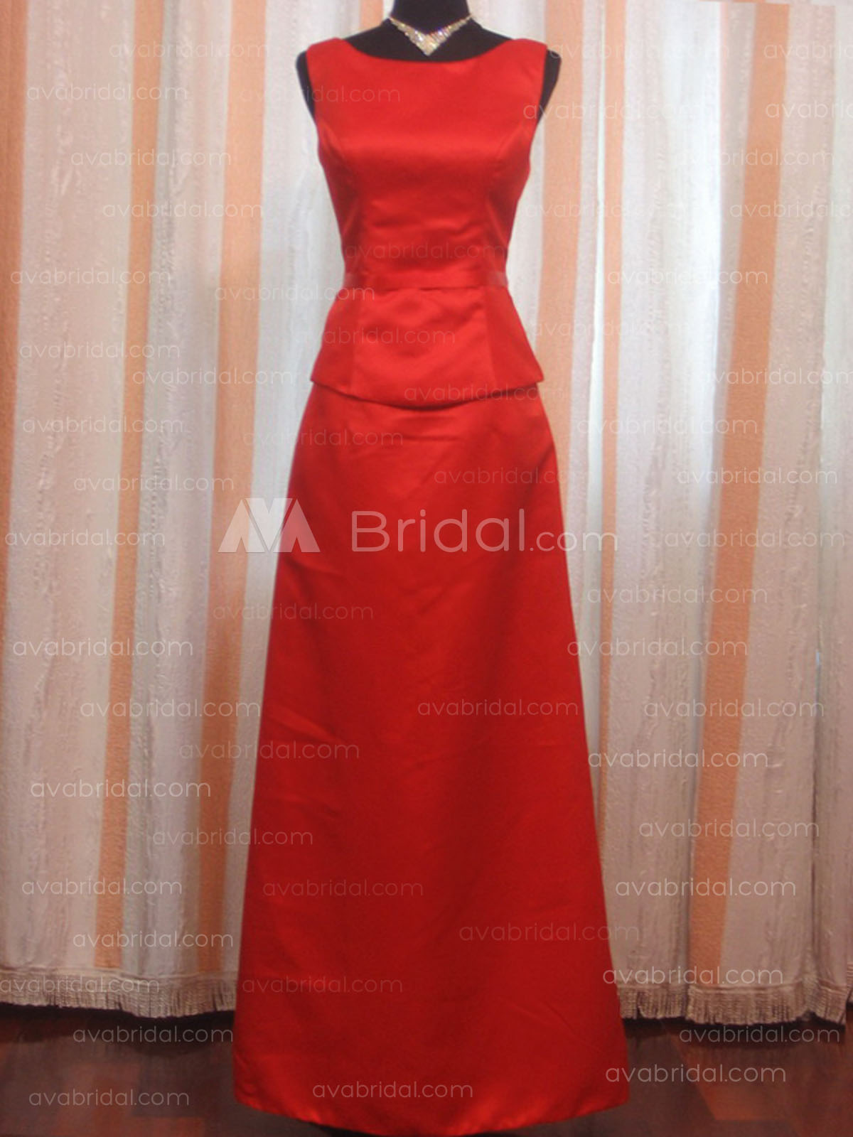A-line Bateau Neckline Satin Bridesmaid Dress B121 -Front
