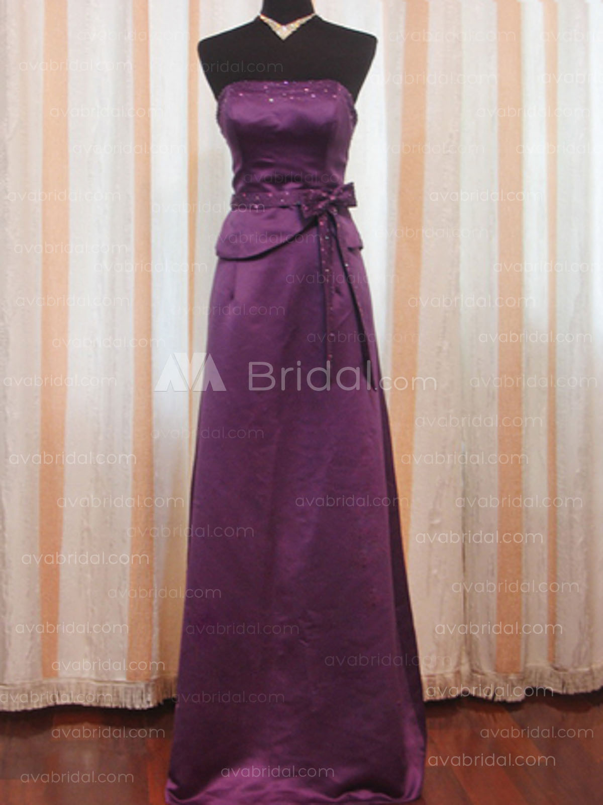 Slim Strapless Satin Bridesmaid Dress B177 - Front