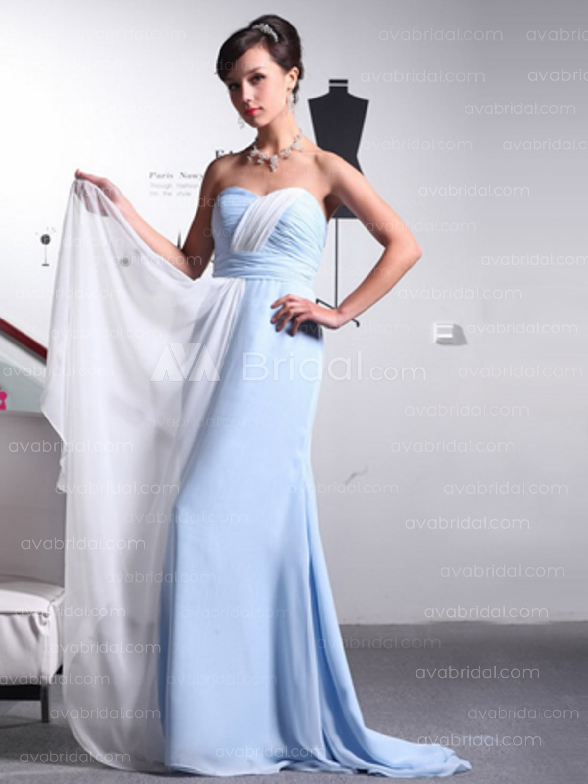 Modern Column Chiffon Bridesmaid Dress B370-Front