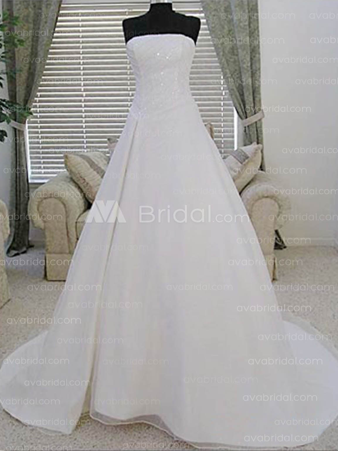 A-line Crystal Organza wedding dress-w204-front