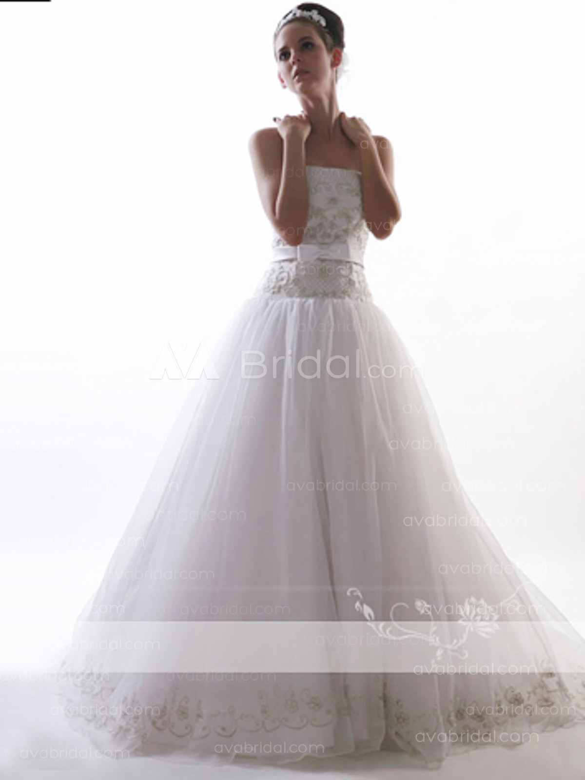 Embroidered Princess wedding dress-w58-front