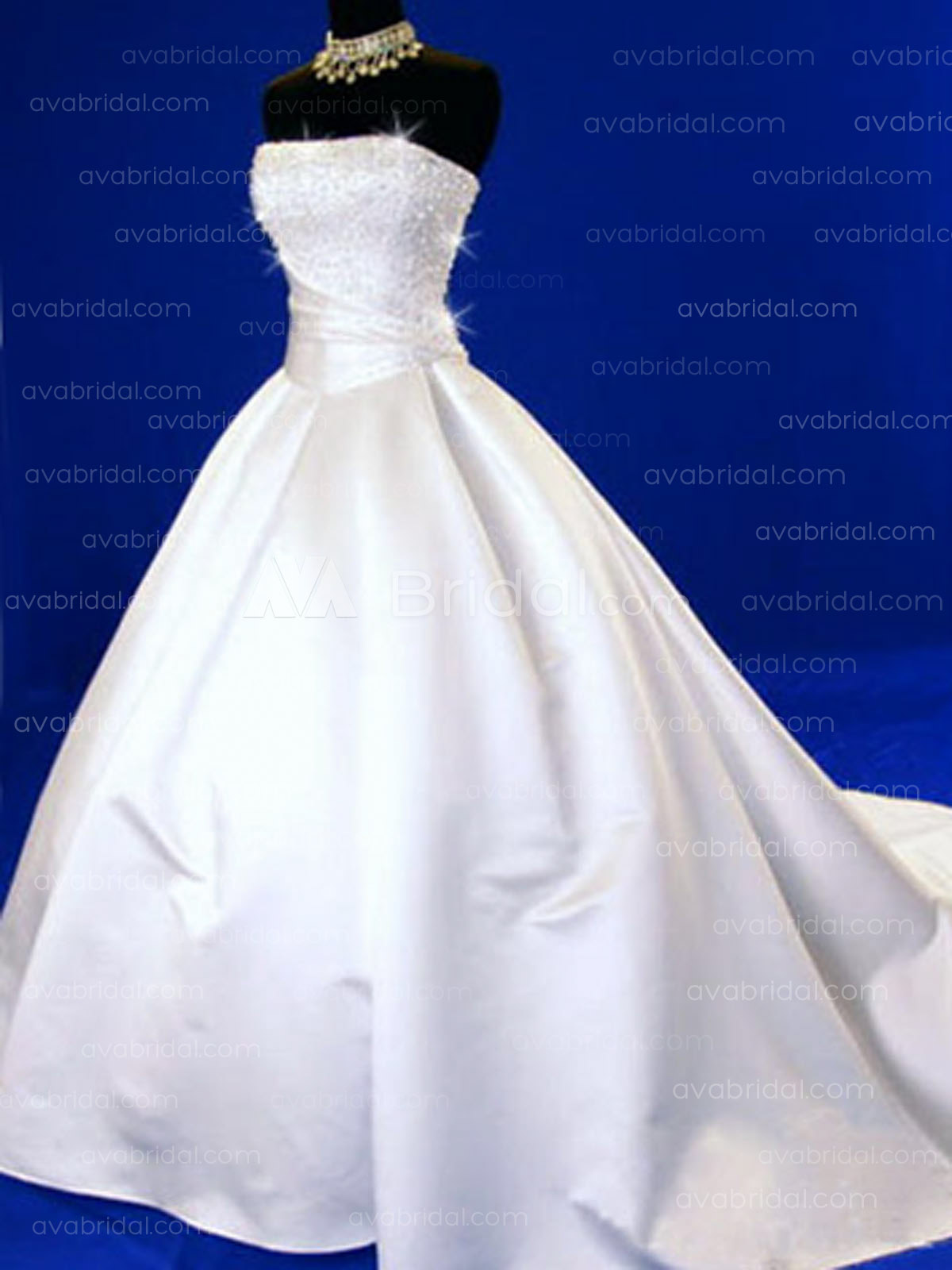 Classic Satin Wedding dress W62-Front
