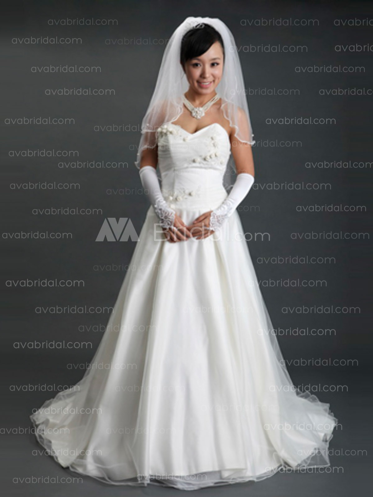 Simple A-line Wedding Dress W620-Front