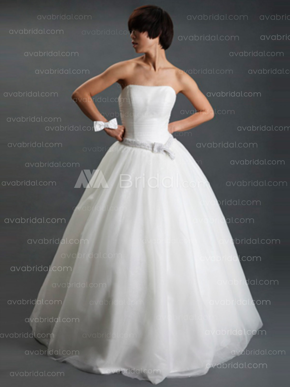 Simple Ball Gown Tulle Wedding Dress W629-Front