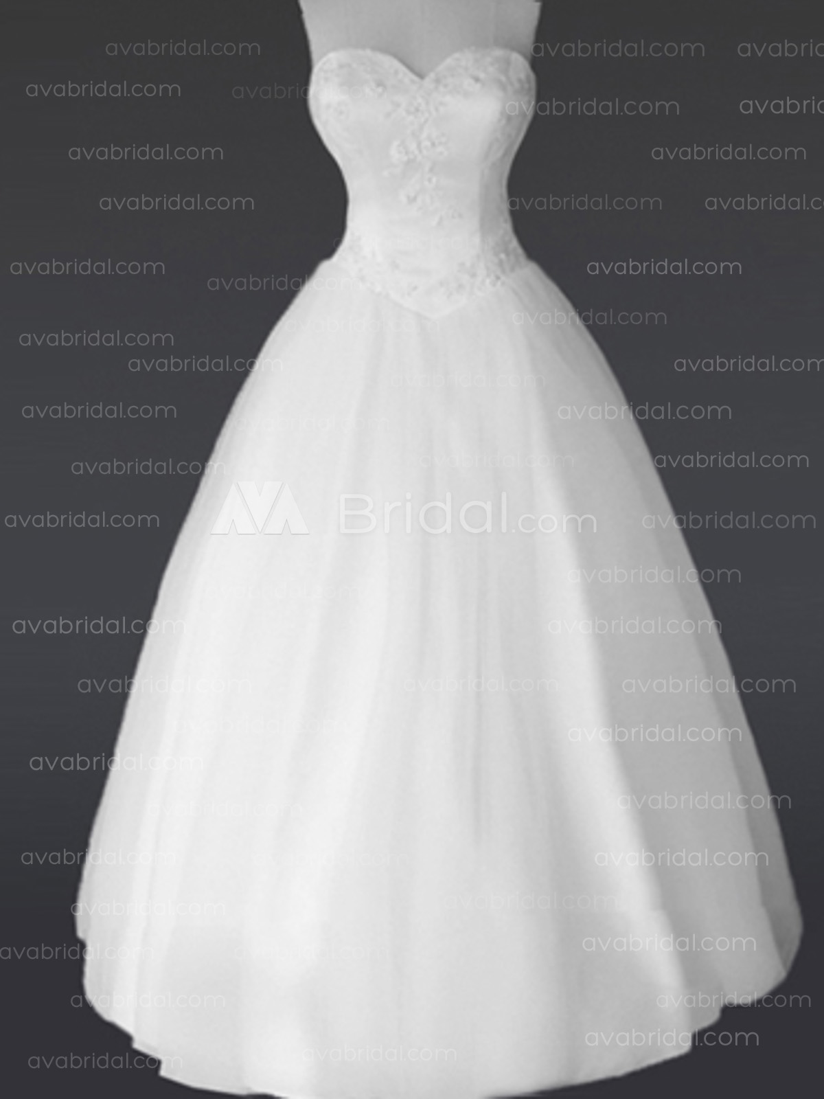 Princess Sweetheart Neckline Tulle Wedding Dress W633-Front