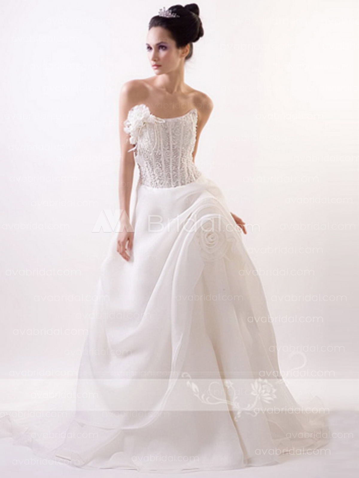 Chic Heavy Beaded Wedding Gown W653-front