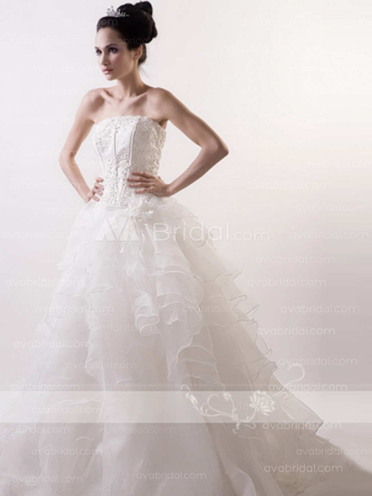 Glamorous Tiered Organza Wedding Dress W656-front