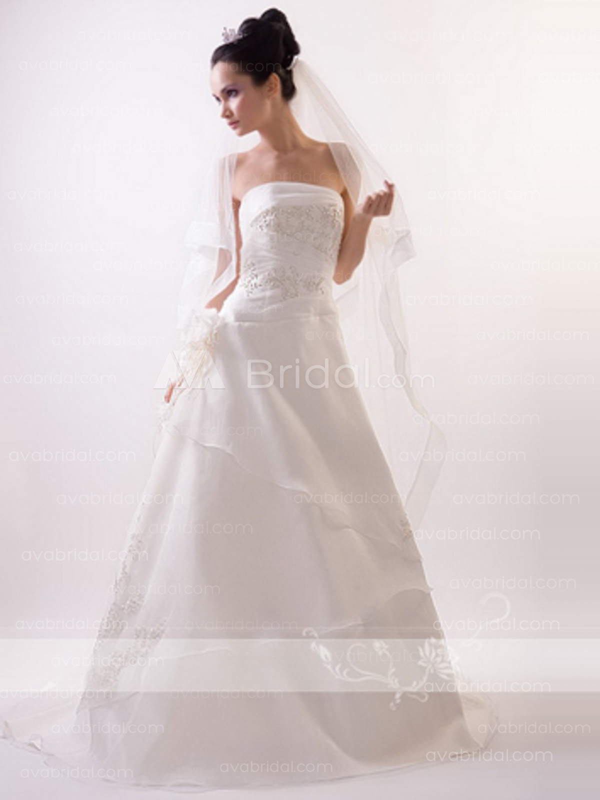 Chic Tiered Wedding Dress W662-front