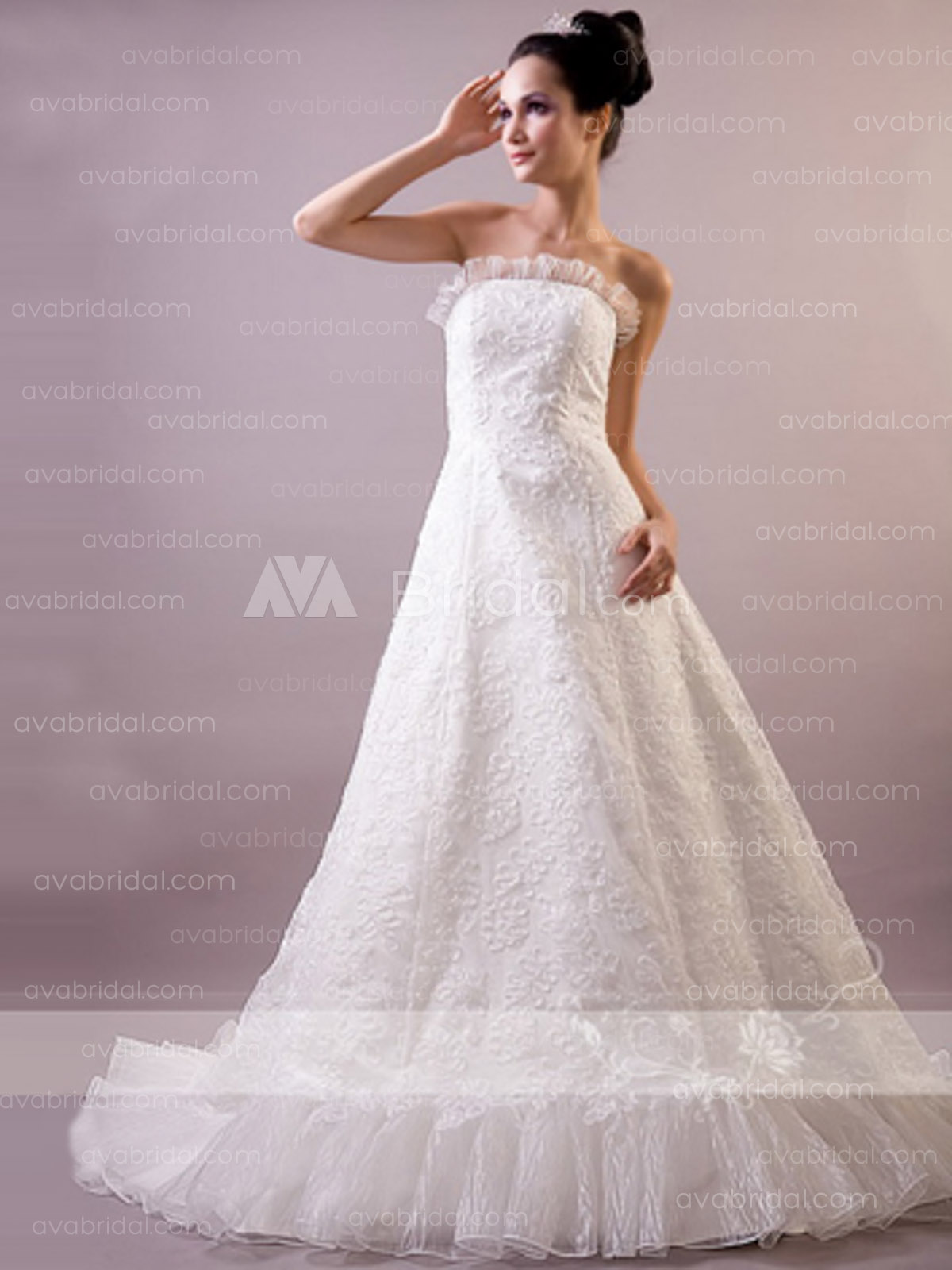 Stunning Full Lace Wedding Dress W664-front