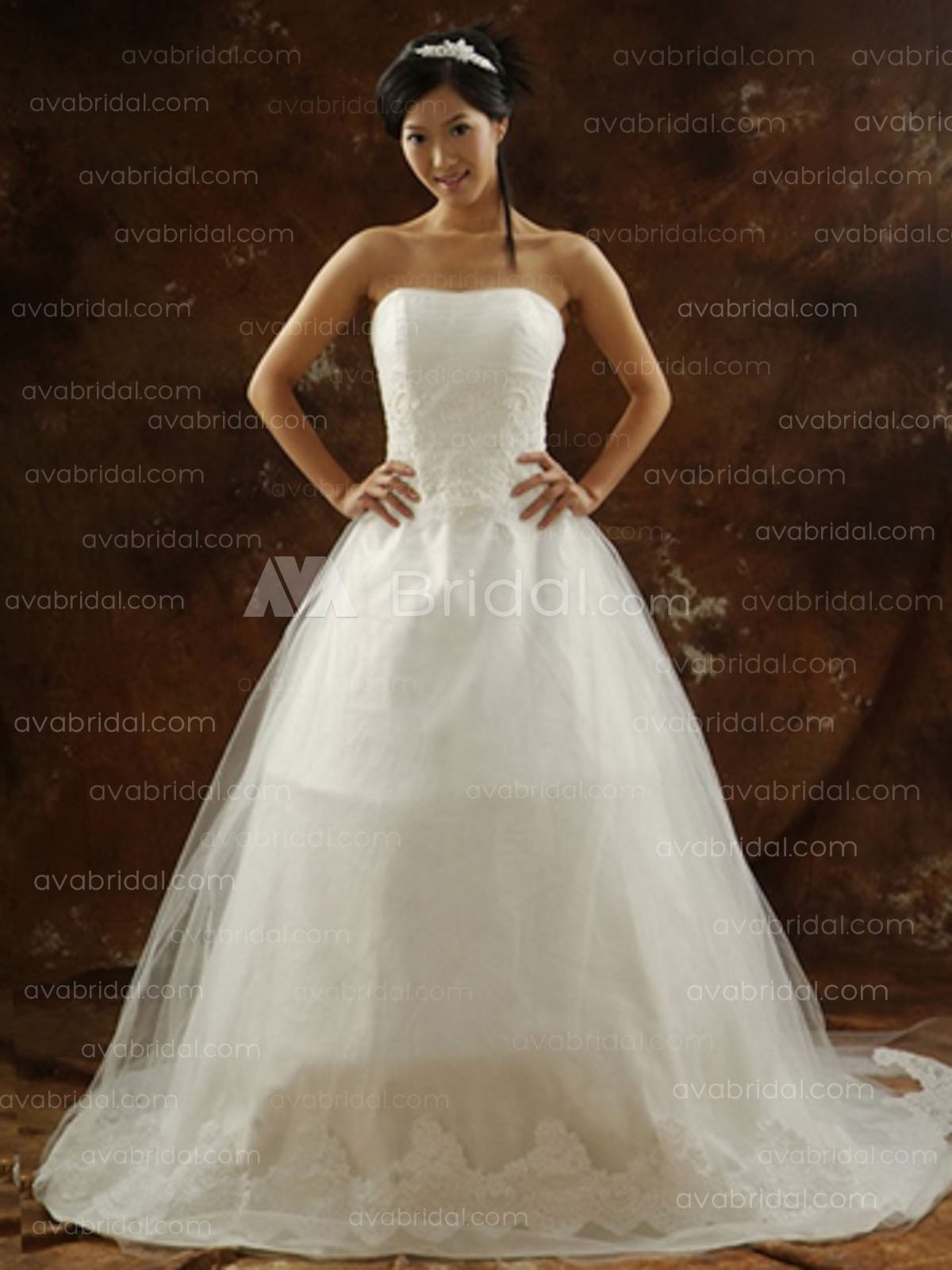 Princess Tulle Wedding Dress w673-Front