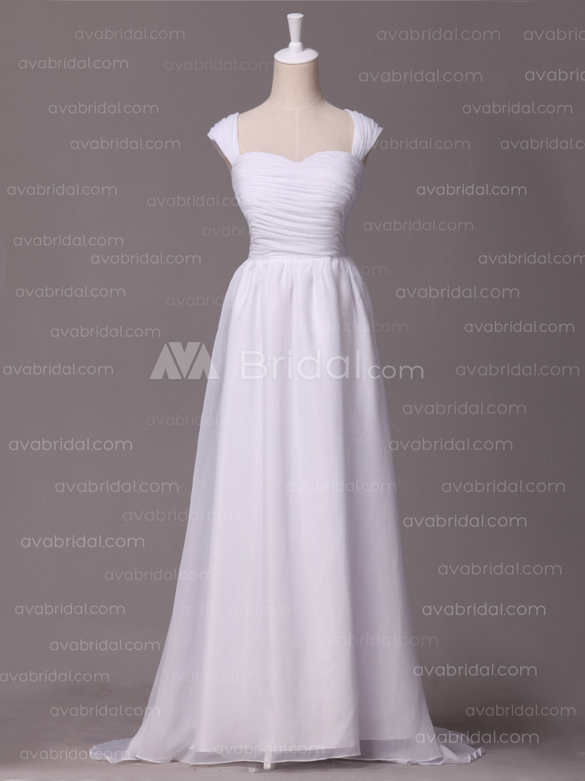 Simple Ruched Chiffon wedding dress W876-front