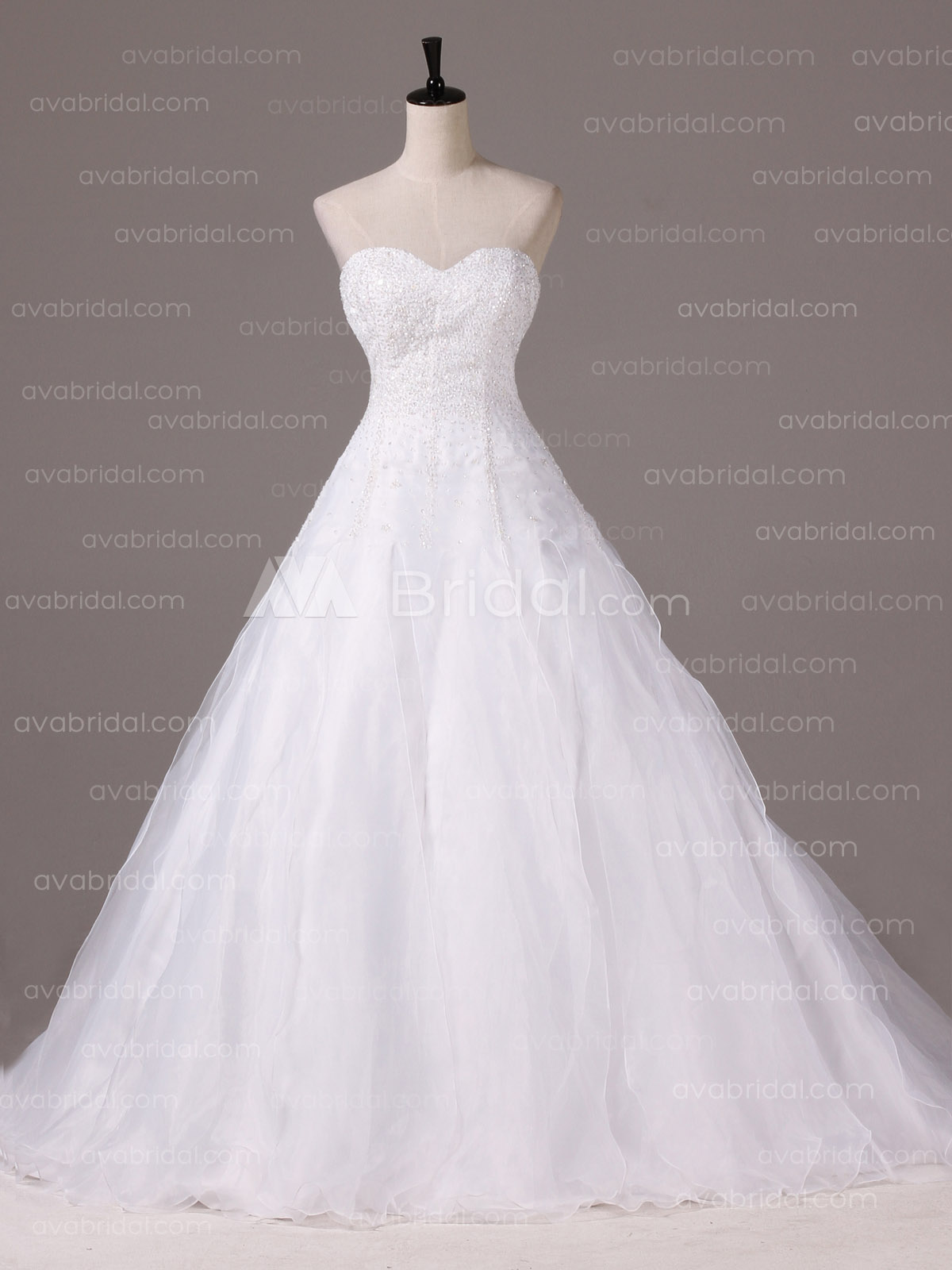 A-line Stunning Heavy Beaded Oragnza Wedding Dress W877-Front