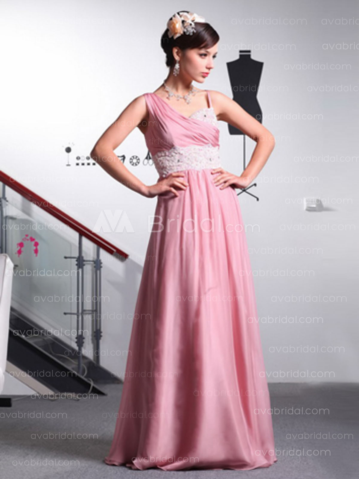 Column Asymmetrical Chiffon Bridesmaids Dress (B378)-Front